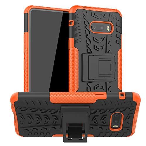 LG G8X Thinq Case, LG V50s Thinq Case, Ankoe Heavy Duty Hybrid Slim Dual Layer Rugged Rubber Hybrid Hard/Soft Impact Armor Defender Protective Case with Kickstand for LG G8X ThinQ/V50S ThinQ (Orange)