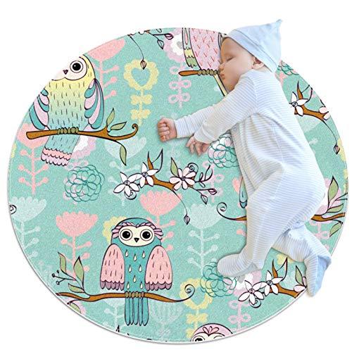HDFGD Alfombra lavable niños círculo alfombra niños dormitorio círculo alfombra baño alfombra decorativo baño alfombra búho verde sentado en ramas
