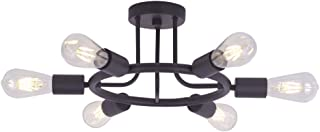 BONLICHT Modern Sputnik Chandelier Lighting 6 Lights Chandelier Oil-Rubbed Bronze Semi Flush Mount Ceiling Light Rustic Starburst Style Ceiling Lamp for Kitchen Dining Room Foyer Hallway