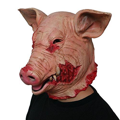 Morbuy Terror Máscara de Halloween, Adulto Látex Novedad Horror Espeluznante Cabeza Máscaras Cara Fiesta de Disfraces Cosplay (Cerdo Loco)