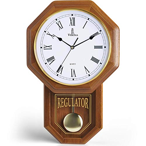 Pendulum Wall Clock - Decorative Wood Wall Clock with Pendulum - Schoolhouse Clock Regulator Design, Battery Operated & Silent, Wooden Pendulum Clock for Living Room, Office, Home Decor & Gift 18'x11'