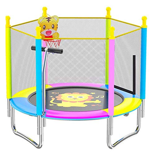 MU Trampolines for Kids 4Ft Trampoline with Safety Net Enclosure Foldable Trampolines with Handrails and Baskets for Children Jumping Training Indoor Outdoor Activities,Lion