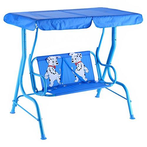 RELAX4LIFE Kinder Hollywoodschaukel 2-Sitzer, Kinderschaukel Welpenmuster, Schaukelbank mit Sonnendach, Gartenschaukel mit 2 Sicherheitsgurten, Gartenbank Stahlgestell, Blau, 117 x 78 x 116cm