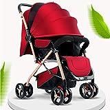 Yhomie - Carrito para cochecito de bebé, plegable, con muelles antigolpes, con asiento ajustable, cochecito con posición acostada, plegable, compacto con una mano, color rojo