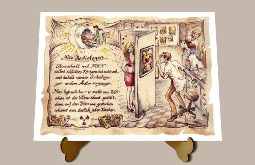 Geschenk Radiologe Radiologen Zeichnung Color 30 x 21 cm mit Aufsteller