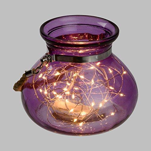 LuminalPark - Vasija de Cristal Violeta Ø 15 x h 12,5 cm, 40 MicroLED luz cálida a Pilas, Decoración de Interior y Fiestas de jardín