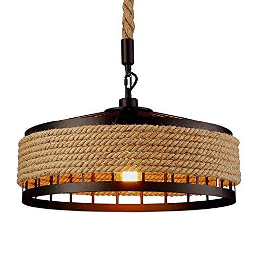 OUKANING Lámpara de techo colgante vintage industrial, cuerda de cáñamo, portavelas, lámpara de techo retro, redonda, hierro, E27 máx.