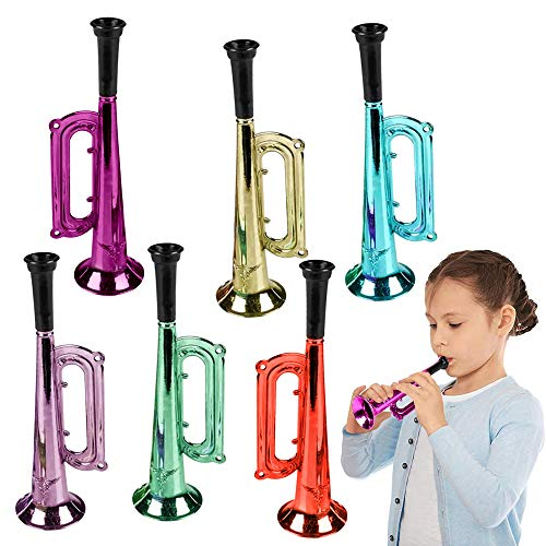ArtCreativity 7 Inch Metallic Trumpets, Set of 12, Fun Plastic Musical Instruments Noise Makers for...