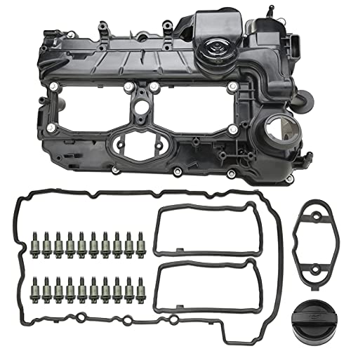 MITZONE N20 Engine Valve Cover with Gasket Bolts Kit & Oil Cap For BMW 2012-2018 528i 528i xDrive 328i 328i GT xDrive 320i x5 x3 X1 428i z4 2.0L Replace # 11127588412