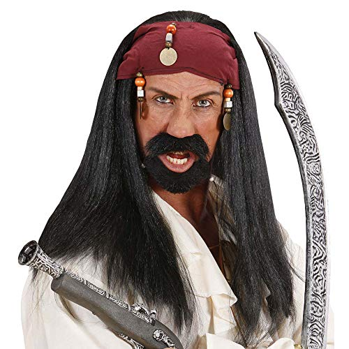 Widmann 6406D Pruik Caribisch Pirat, heren, zwart, eenheidsmaat