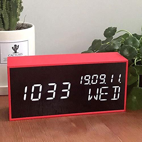 Generic - Despertador infantil digital creativo LED electrónico, diseño cuadrado, color rojo