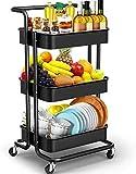 carrello portaoggetti a 3 livelli con maniglia, carrello di servizio carrello da cucina adatto a bagno, cucina, ufficio, biblioteca, salone - nero