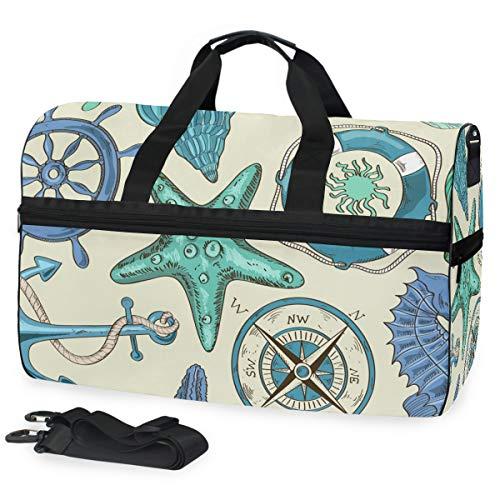 Schiffskompass Kunst Sporttasche Badetasche mit Schuhfach Reisetaschen Handtasche für Reisen Frauen Mädchen Männer