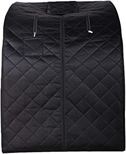 ZONEMEL Portable Far Infrared One Person Sauna, Home Spa Detox Therapy, Heated Floor Pad, Upgrade Chair (Black)