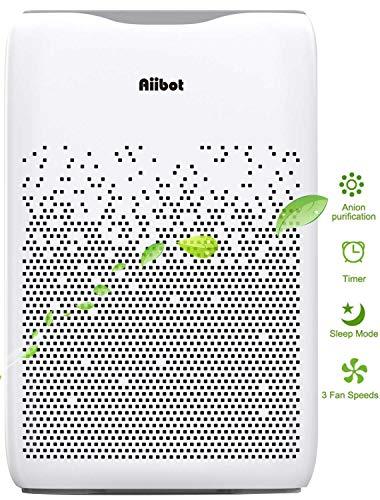 AIIBOT Luftreiniger Air Purifier Ionisator, 4-Stufen-Filterung gegen 99,97% Staub/Bakterien/Gerüche/Allergie/Schadstoffe, automatische Erinnerung für Filterwechsel, 4 Windgeschwindigkeiten, Leise