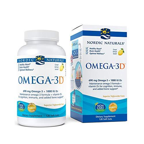 nordic naturals fish oils Nordic Naturals Omega-3D, Lemon Flavor - 690 mg Omega-3 + 1000 IU Vitamin D3-120 Soft Gels - Fish Oil - EPA & DHA - Immune Support, Brain & Heart Health, Healthy Bones - Non-GMO - 60 Servings