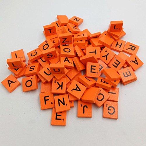 Iusun 100Holz Scrabble Fliesen Schwarz Buchstaben Zahlen für Das Handwerk Holz-Zeichensätze Spielzeug Kinder Geschenk, Orange