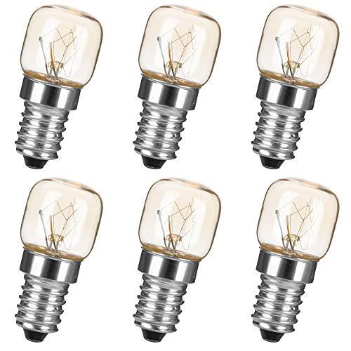 Pack de 6 bombillas para horno E14, 15 W, 230 – 240 V, 2700 K, luz blanca cálida, hasta 300 grados, para microondas, frigorífico, horno, lámpara de sal del Himalaya, congelador y lámpara de cerámica