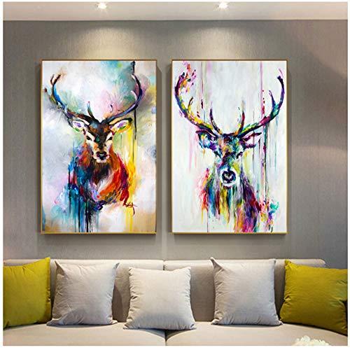 Keliour Moderne Kunst Wandbild Bunte Hirsch Bilder Tier Poster Leinwand Malerei Wandkunst für Wohnzimmer Home Dekorative Bilder -60x80cm Kein Rahmen
