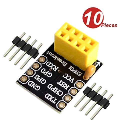DollaTek 10Pcs ESP8266 ESP-01 ESP-01S Breakce Breadboard Adapter Transceiver Module WiFi (ESP8266)