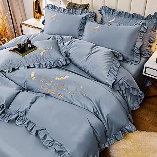juegos de sábanas de 80,Set de sábanas de sábanas Set 4 PCS 1 Duvet Funda 1 Hoja ajustada 2 Casas de almohadas, más adecuadas para la decoración del dormitorio, las habitaciones.-Esconder_Cama de 2.0