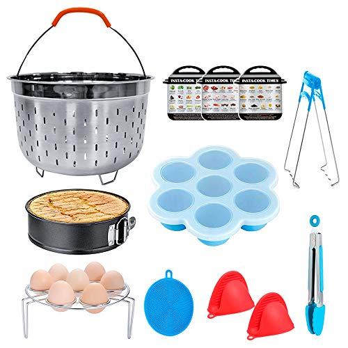 Bestcool Accesorios para ollas, juego de 9 piezas de olla a presión con vaporizador de huevo, moldes para mordeduras de huevo/sartenes antiadherentes/pinzas de cocina (6,8 QT)