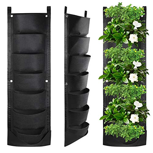KORAM 7 Pockets Wall Hanging Planter, Upgraded Vertical Garden Planter Deeper and Bigger for Indoor & Outdoor Planting Home Balcony...