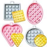 CHEPL 4pcs Molde Gofres Silicona, Moldes Waffle,Antiadherente Molde de Silicona Apto para Lavavajillas Horno Microondas Congelador