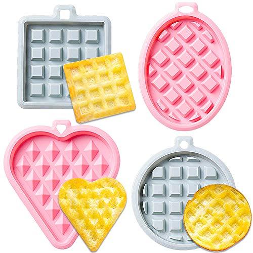 CHEPL 4pcs Stampo per Waffle, Teglie da Muffin Stampi per Waffle Antiaderenti in Silicone, Ideali Come Forme per Preparare Cialde Tavolette di Cioccolata Torte Adatto