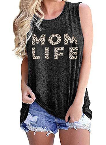 Camiseta sin Mangas con Estampado de Letras de Leopardo con Cuello Redondo y Cuello Redondo para Mujer