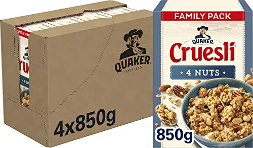 Quaker Cruesli 4 Noten, Doos 4 stuks x 850 g