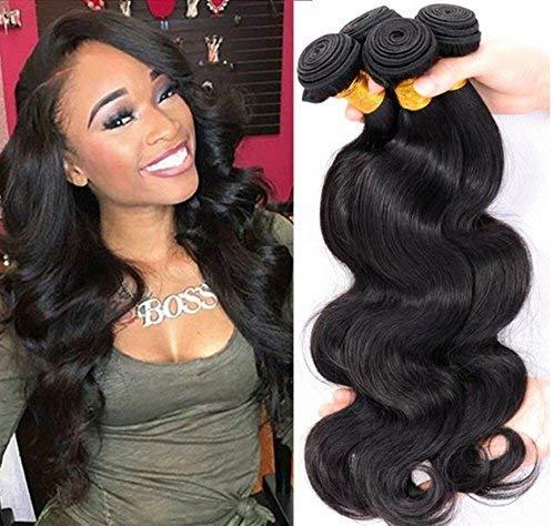 ZGYQGOO 100% Brésil Virgin Body Curtain Hair Wave Body Ensemble 3 Rideaux Cheveux, Natual Black Color 300g Total (100g chacun)