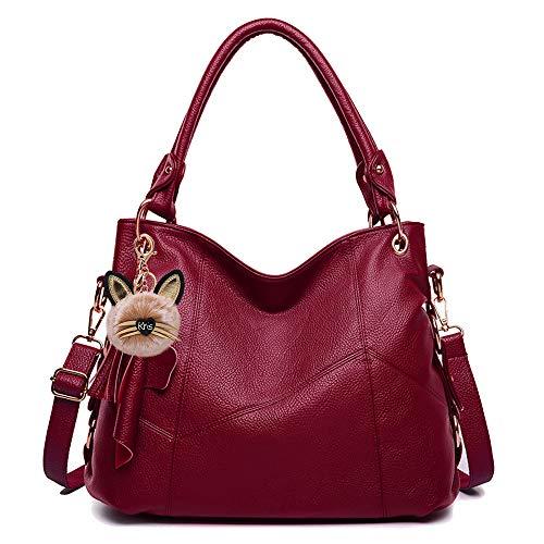 KrisAnna Damen Schultertaschen mit Quaste und Schulterriemen Umhängetasche Hobo Handtasche Weinrot EINWEG