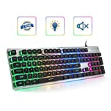 LANGTU Membrane Gaming Keyboard, Colorful LED Backlit Quiet Keyboard for Study, All-Metal Panel