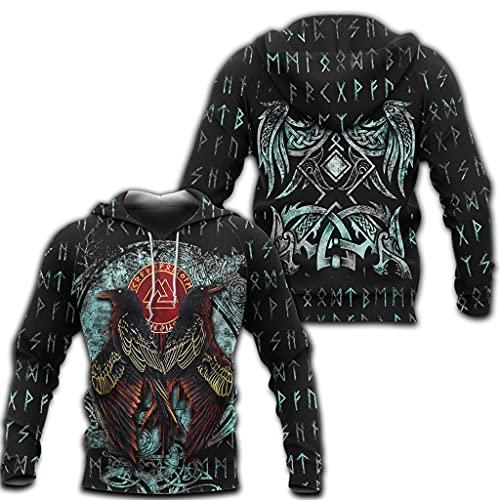 Hugin & Munin Tattoo Hoodie Viking Runa Valknut De Manga Larga Zipper Jersey Black Colegios Black Fall Chaqueta Suelta,Hoodie,L
