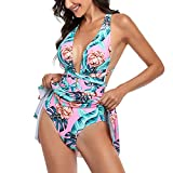 One Piece Swimdress Floral Skirted Swimsuits for Women Halter Tummy Control One Piece Skirted Swimdress Bathing Suits Pink