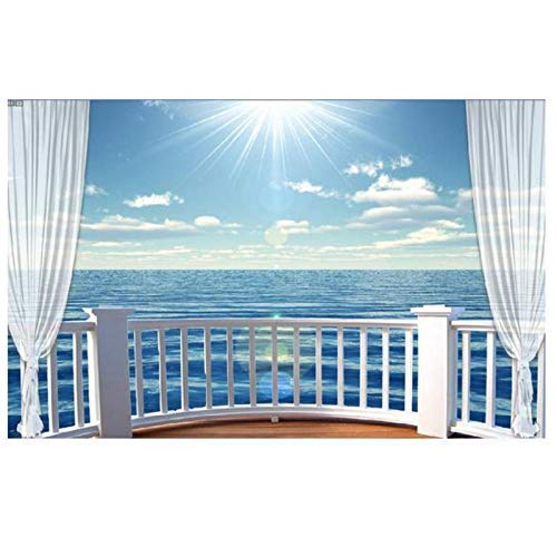 tapete 3d wandbilder tapete wohnzimmer 3d balkon meer landschaften fernseheinstellungswand fototapete tapeten - 400cm (B) x 250cm (H) (13'1