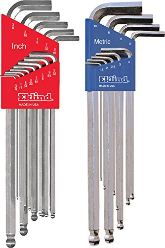 EKLIND 17322 Bright Ball-Hex L-Key allen wrench Combo- Extra Long Inch / MM (2 sets 22pc)
