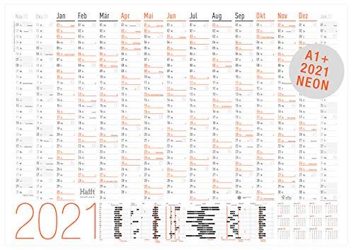 XXL Wandkalender 2021 größer als A1 (89 cm x 63 cm) NEON | 15 Monate: Nov 2020 - Jan 2022 | gefalzter Wandplaner mit Ferien- und Feiertage-Übersicht | nachhaltig & klimaneutral