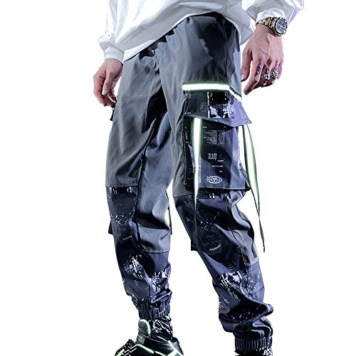 XYXIONGMAO Mens Streetwear Joggers Hip Hop Cargo Pants for Men Youth Loose Sports Overalls Multi-Pocket Casual Pants (Grey, M)