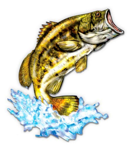 "GT Graphics Largemouth Bass Jumping - 3"" Vinyl Sticker - for Car Laptop I-Pad Phone Helmet Hard Hat - Waterproof Decal"
