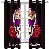 Daesar Cortinas Ventana Opaca Púrpura Rojo Cortina Poliester Habitacion Calavera con Flores Frase Día de Muertos 274x160CM