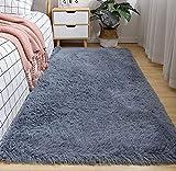 Txyk Alfombras de Interior Ultra Suaves y Modernas, para Sala de Estar, adecuadas para niños, Dormitorio, decoración del hogar, 60 x 120 cm (Gris)