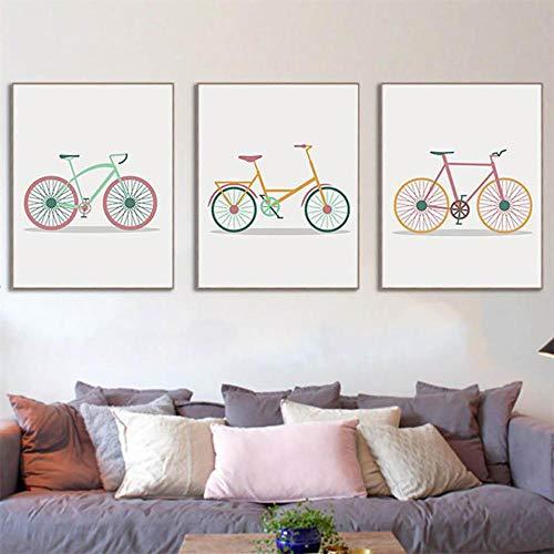hdbklhjxk Leinwand gedruckt Poster Home dekorative Cartoon Fahrrad nordischen Stil Vintage Malerei Wandkunst Bilder Wohnzimmer 40x60cmx3 ungerahmt