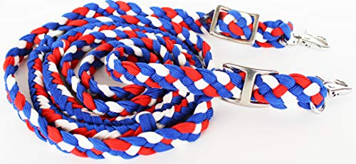 PRORIDER Roping Knotted Horse Tack Western Barrel Reins Nylon Braided Red Blue Whit 60710
