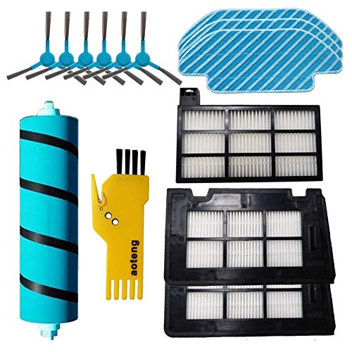 Kit Accesorios de Recambio para Cecotec Conga Serie 4090 Robot Aspirador, Pack de 1 Cepillo Principal + 6 Cepillos Laterales +1 Cepillo de Limpieza+3 filtros Hepa