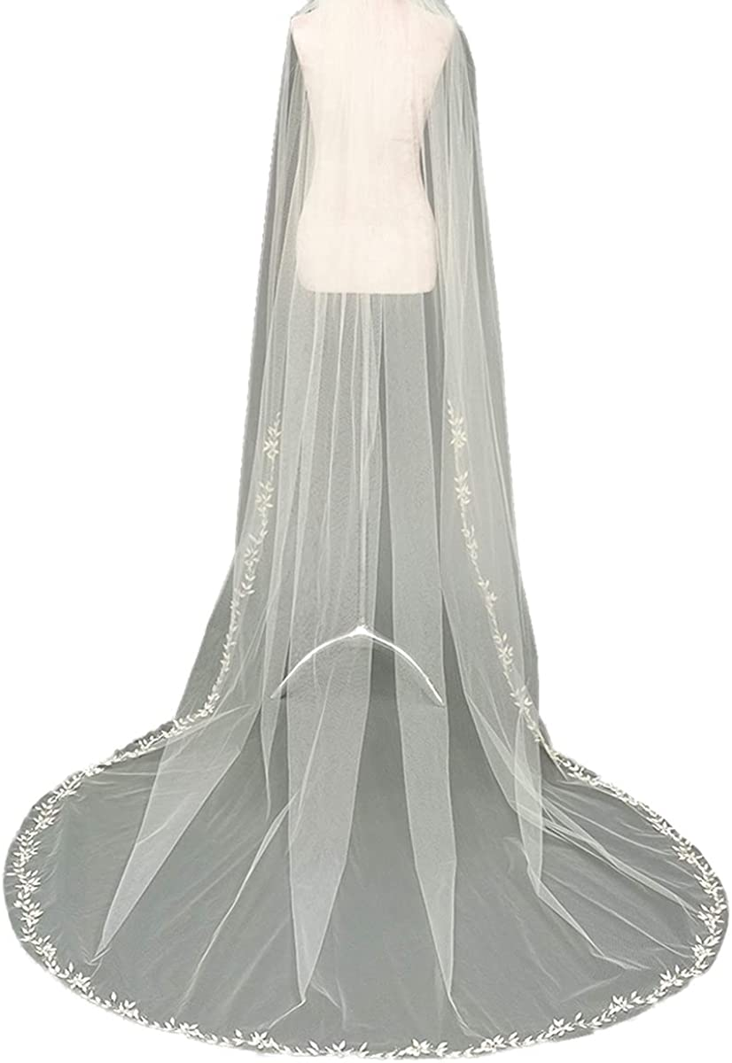 Flower Veil Cathedral Veil 1T Bridal Veil Lace Veil Women's veil with Comb Tulle Veil for Wedding