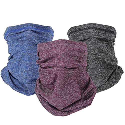 NMEPLAD 3Pcs Cooling Neck Gaiter with Filter (40PCS),UPF 50 Face Cover,bandana,Mask,Scarf for Men & Women& Kids,Windproof Outdoors sport/work Protective Equipment