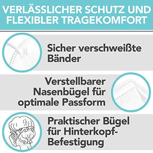 FFP2 Maske CE Zertifiziert – 40x FFP2 Masken (NR) – Inkl. 2X Clip für höchsten 5-lagige Premium Atemschutzmaske FFP2 maximale Sicherheit – Mundschutz FFP2 BEMS Meisterwerk - 3