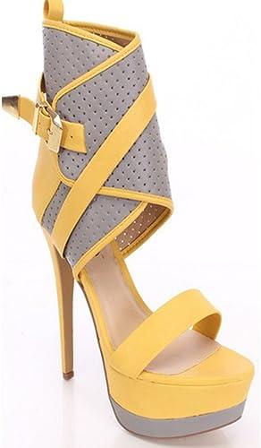 Femmes Peep Toe Sandales Dames Bottes à Talons Hauts Chaussures Mode Strappy Crougever Parti De Mariage De Bal Taille Court Jaune Chaussures